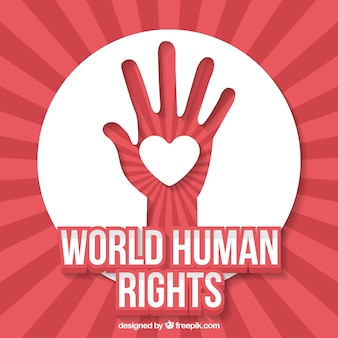 Fundo abstrato do dia dos direitos humanos do mundo da mão com coração