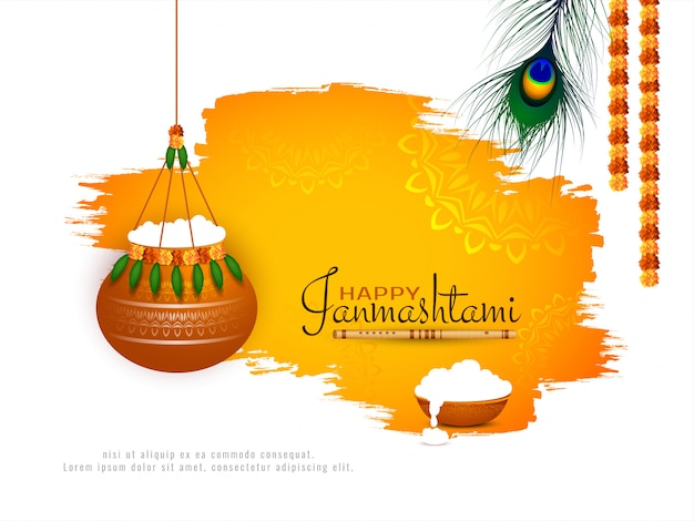 Fundo abstrato do festival indiano happy janmashtami