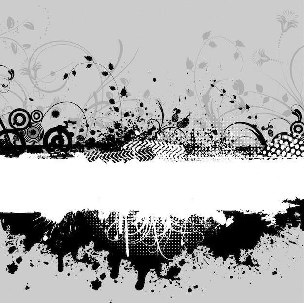 Fundo abstrato do grunge com elementos do projeto floral