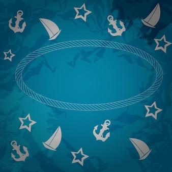 Fundo abstrato do grunge do mar. ilustração vetorial