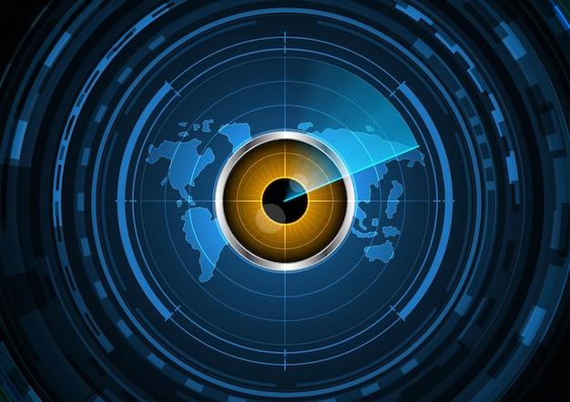 Fundo abstrato do mapa do mundo do radar do círculo do olho do futuro da tecnologia