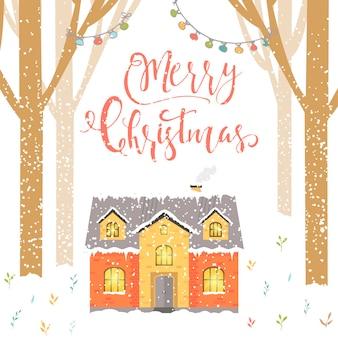 Fundo abstrato do natal com letras da floresta da casa de inverno e flocos de neve brancos cintilantes