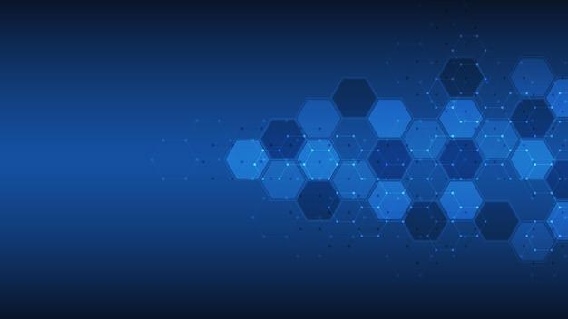 Fundo abstrato do padrão de forma de hexágonos Vetor Premium
