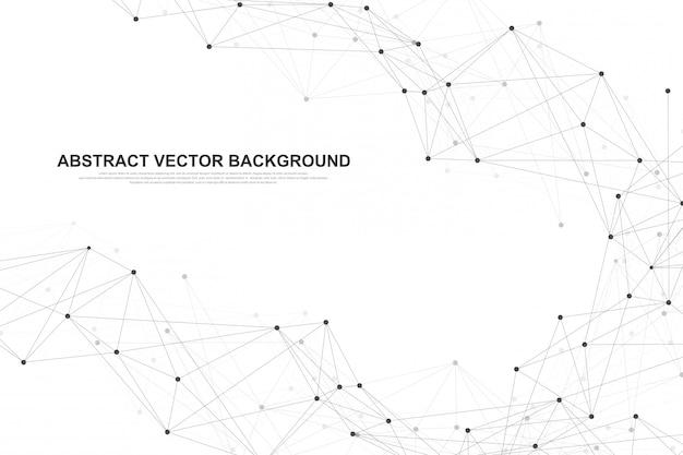Fundo abstrato do plexo com linhas e pontos conectados