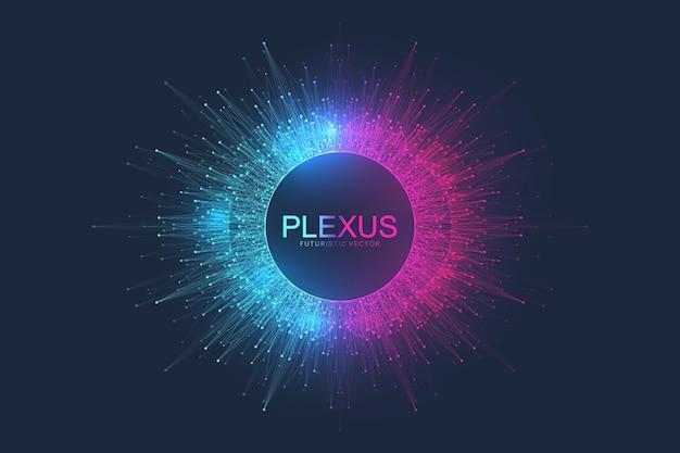 Fundo abstrato do plexo com partículas dinâmicas. fundo de fluxo de plexo com elementos fractais. inteligência artificial de aprendizagem profunda. visualização do algoritmo de big data. ilustração digital do vetor.