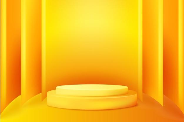 Fundo abstrato do pódio laranja 3d fundo do pódio do cilindro para apresentação do produto
