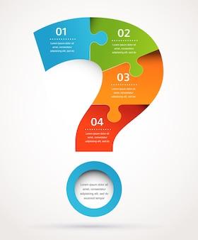 Fundo abstrato do ponto de interrogação e infográficos Vetor Premium