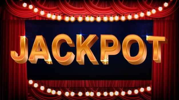 Fundo abstrato do sinal de texto do jackpot com lâmpadas e palco vermelho