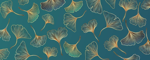 Fundo abstrato do vetor com folhas de ginkgo azuis e turquesas.
