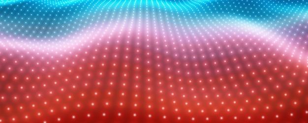 Fundo abstrato do vetor com luzes de néon coloridas formando uma superfície ondulada. fluxo de superfície cibernética de néon. alívio cibernético colorido suave de partículas brilhantes.