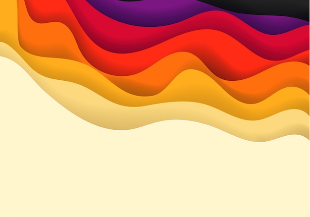 Fundo abstrato do vetor com ondas de papel de cor