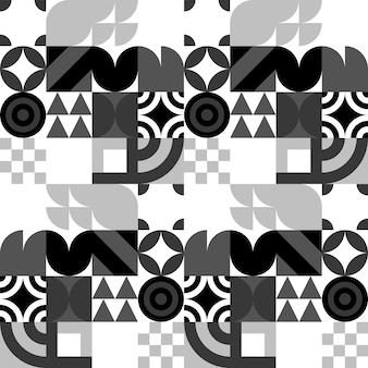 Fundo abstrato do vetor da bauhaus sem emenda. padrão geométrico retrô. mosaico de formas simples.