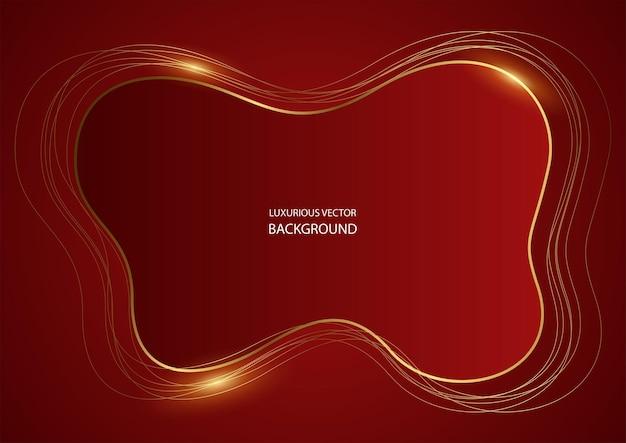 Fundo abstrato do vetor da forma da curva vermelha com moldura de ouro branco na eps10