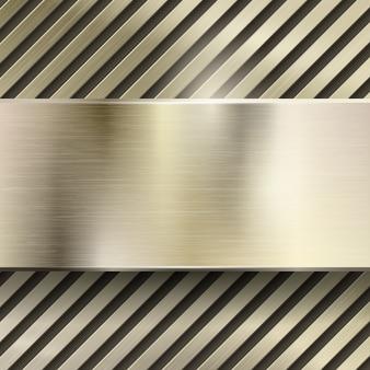 Fundo abstrato do vetor do metal. aço metálico ou padrão de ferro brilhante, painel polido, grade ou listrado, ilustração em ouro escovado