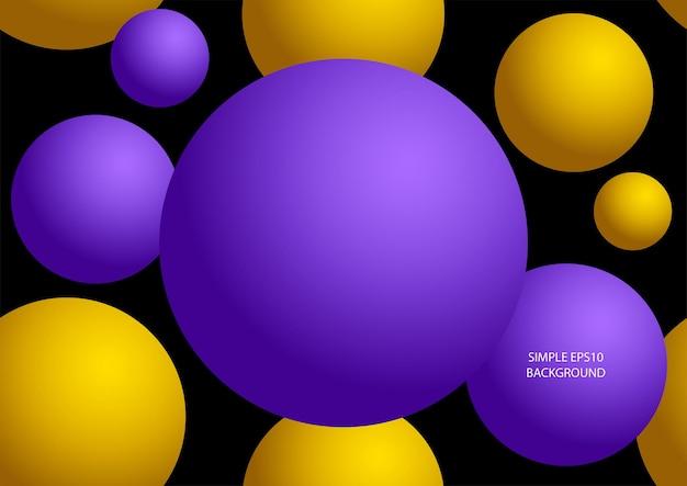 Fundo abstrato do vetor do padrão sem emenda de esferas roxas e amarelas na eps10