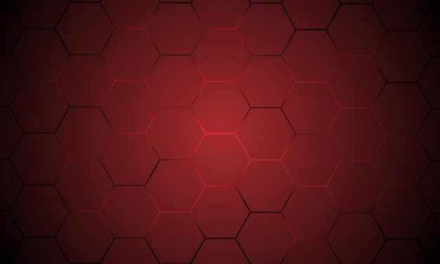 Fundo abstrato do vetor tecnologia hexagonal vermelho escuro