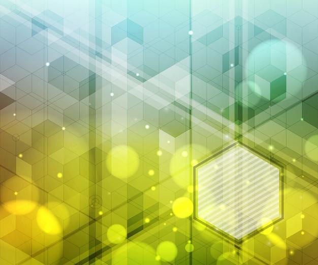 Fundo abstrato dos hexágonos, efeitos da luz, luz borrada.