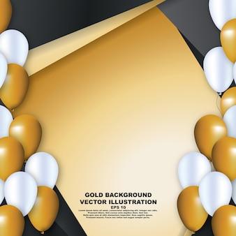 Fundo abstrato dourado com balão de ouro