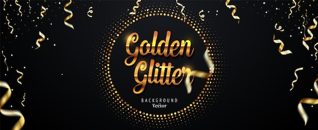 Fundo abstrato dourado glitter com fitas caindo