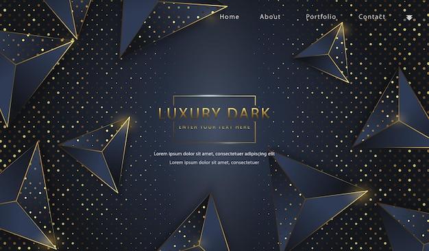 Fundo abstrato dourado, luxuoso, elegante, escuro, triângulo, 3d