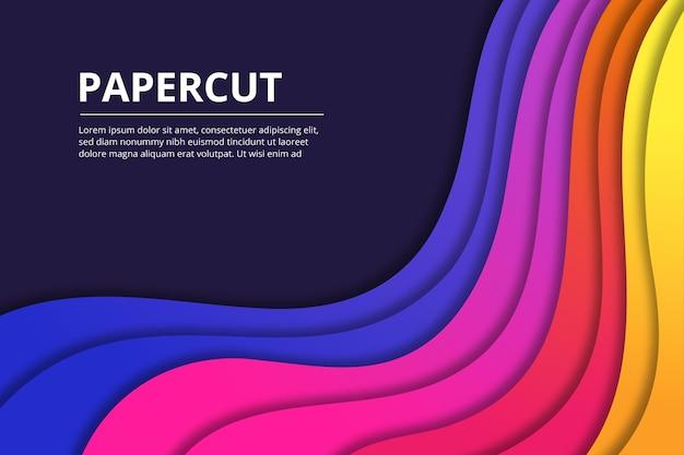 Fundo abstrato em estilo de papel recortado em formato de fluxo colorido