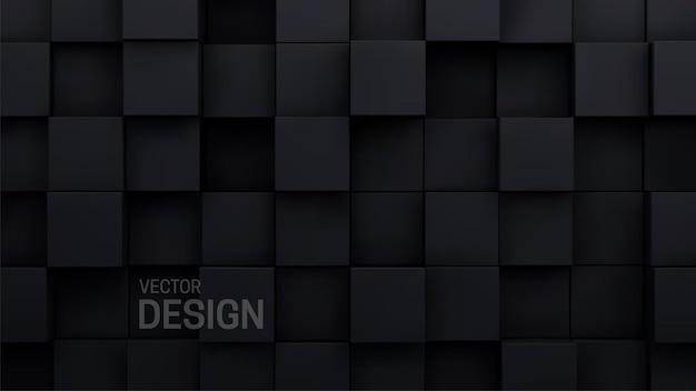 Fundo abstrato em mosaico cúbico preto