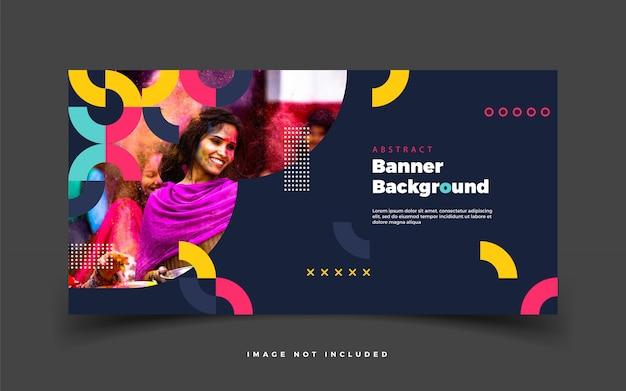 Fundo abstrato escuro banner colorido para web ou para mídia social de promoção de publicidade