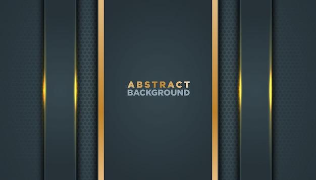 Fundo abstrato escuro com camadas pretas da sobreposição. textura com decoração de elementos de efeito dourado.