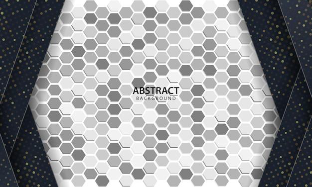 Fundo abstrato escuro com camadas pretas de sobreposição. textura com plano de fundo texturizado hexágono.