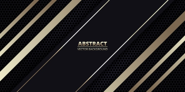 Fundo abstrato escuro com fibra de carbono e linhas diagonais douradas.