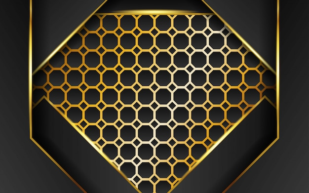 Fundo abstrato escuro de tecnologia moderna com linha ouro e raios dourados, sobreposição de camada em efeito de papel no fundo texturizado hexágono de ouro