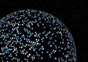 Fundo abstrato esfera com linhas e pontos de conexão