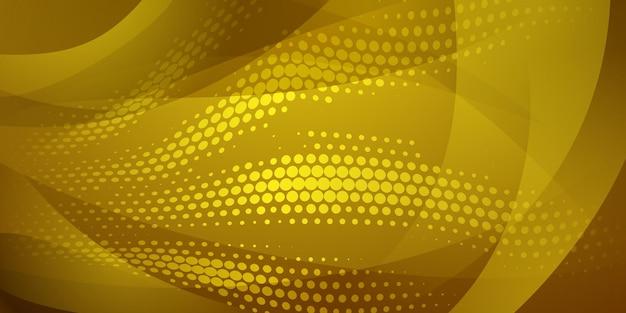 Fundo abstrato feito de pontos de meio-tom e linhas curvas em cores amarelas