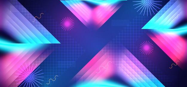 Fundo abstrato futurista de alta tecnologia geométrico de néon na moda