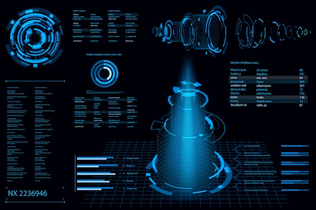 Fundo abstrato futurista. fundo do conceito do futuro tema. painel de dados, gráfico, conceito digital de painel
