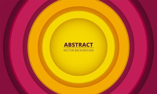 Fundo abstrato geométrico colorido. decoração de corte de papel de círculos multicoloridos no centro em um fundo colorido.