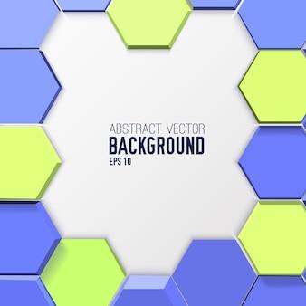 Fundo abstrato geométrico com hexágonos 3d azuis e verdes em estilo mosaico