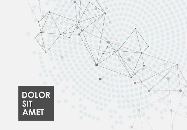 Fundo abstrato geométrico com linha conectada e pontos com efeito de meio-tom
