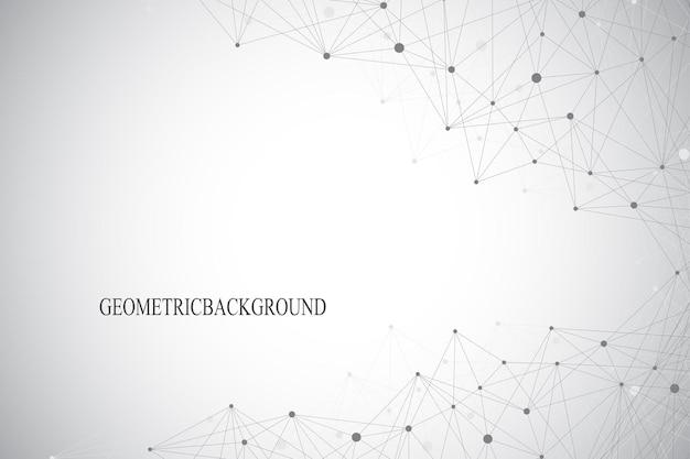 Fundo abstrato geométrico com linha conectada e pontos. ilustração vetorial.