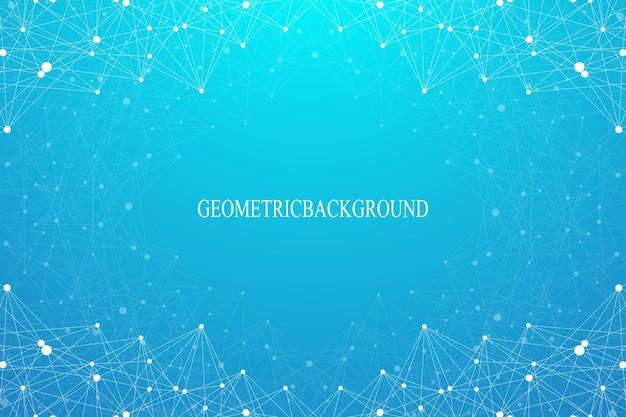 Fundo abstrato geométrico com linha conectada e pontos. pano de fundo gráfico para seu projeto. ilustração vetorial.