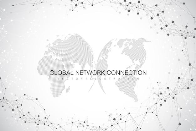 Fundo abstrato geométrico com linha conectada e pontos. plano de fundo de rede e conexão para sua apresentação. plano de fundo poligonal gráfico. ilustração científica do vetor.