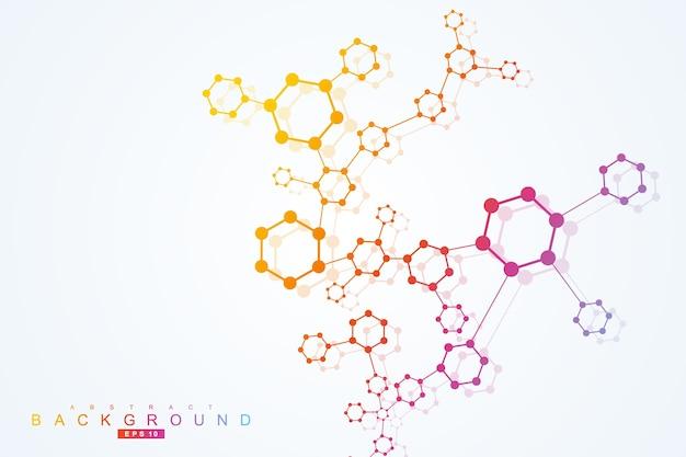 Fundo abstrato geométrico com linha conectada e pontos.