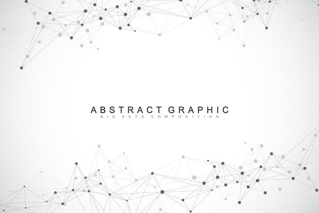 Fundo abstrato geométrico com linhas e pontos conectados. fundo de rede e conexão. fundo da molécula e comunicação. plano de fundo gráfico para seu projeto. ilustração vetorial.