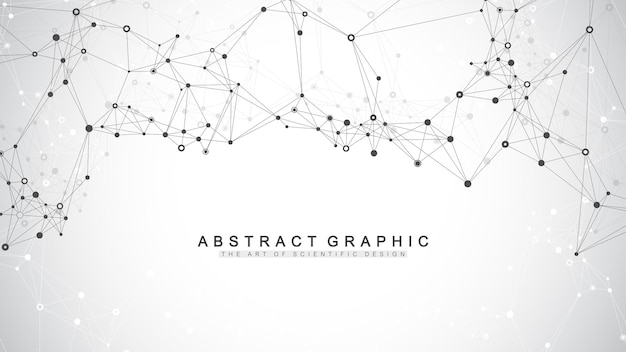 Fundo abstrato geométrico com linhas e pontos conectados. ponto de fluxo de conectividade. fundo da molécula e comunicação. plano de fundo de conexão gráfica para seu projeto. ilustração vetorial.