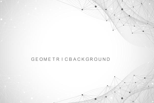 Fundo abstrato geométrico com linhas e pontos conectados