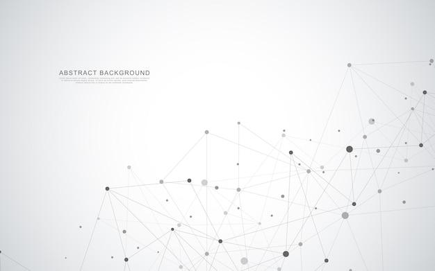 Fundo abstrato geométrico com pontos e linhas de conexão