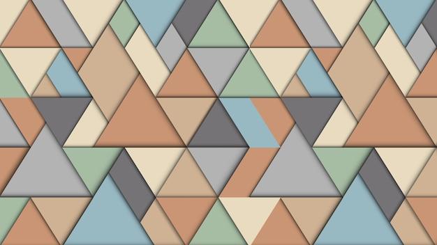 Fundo abstrato geométrico com triângulos, efeito 3d, cores pastel retrô