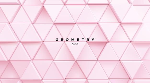 Fundo abstrato geométrico de formas aleatórias de triângulo rosa suave