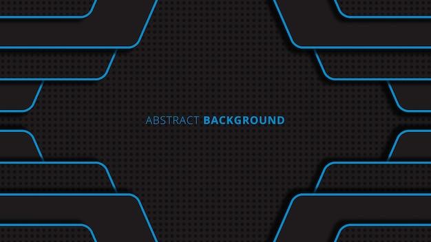 Fundo abstrato geométrico forma redonda com cores preto e azul