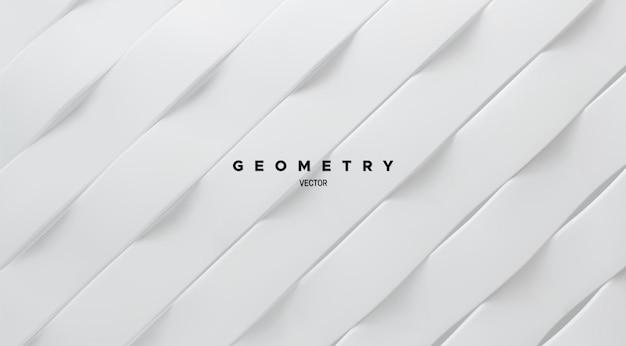 Fundo abstrato geométrico minimalista com formas de fita branca ondulada